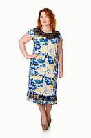 Платье большого размера Венецианская роза голубой, летнее платье большого размера