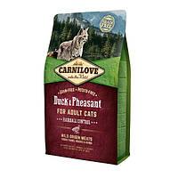Carnilove Cat Duck & Pheasant Hairball Control с уткой и фазаном для выведения комков шерсти 6кг