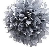 Купить бумажный помпон для оформления, 35 см. серебро