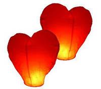 Небесные фонарики в виде сердца, 1 метр  красный