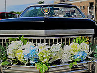 Прокат украшения на свадебное авто(бело-голубое)
