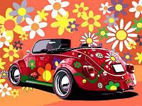 Картина-раскраска Назад в 60-е (красная машина) (VK174) 30 х 40 см