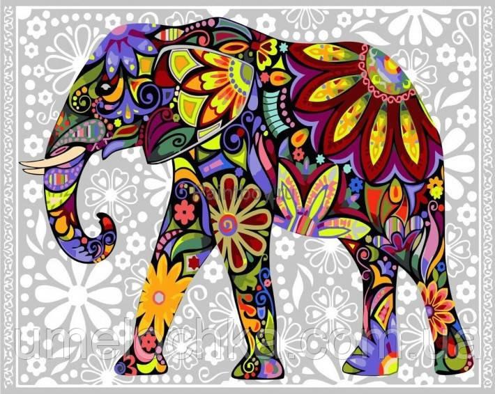 Картина раскраска по номерам без коробки Цветочный слон (BK-GX4030) 40 х 50 см