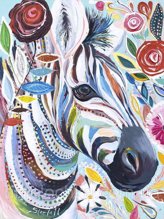 Картина по номерам без коробки Зебра в цветах (BK-GX4248) 40 х 50 см