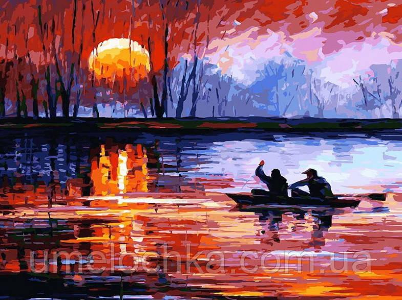 Раскраска на холсте без коробки Рыбалка на закате Худ Афремов Леонид (BK-GX6063) 40 х 50 см