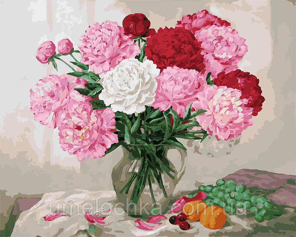 Раскраска на холсте без коробки пионы и виноград (BK-GX8113) 40 х 50 см