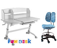Детская парта для дома FunDesk Amare Grey II  + Детское кресло SST6 Blue