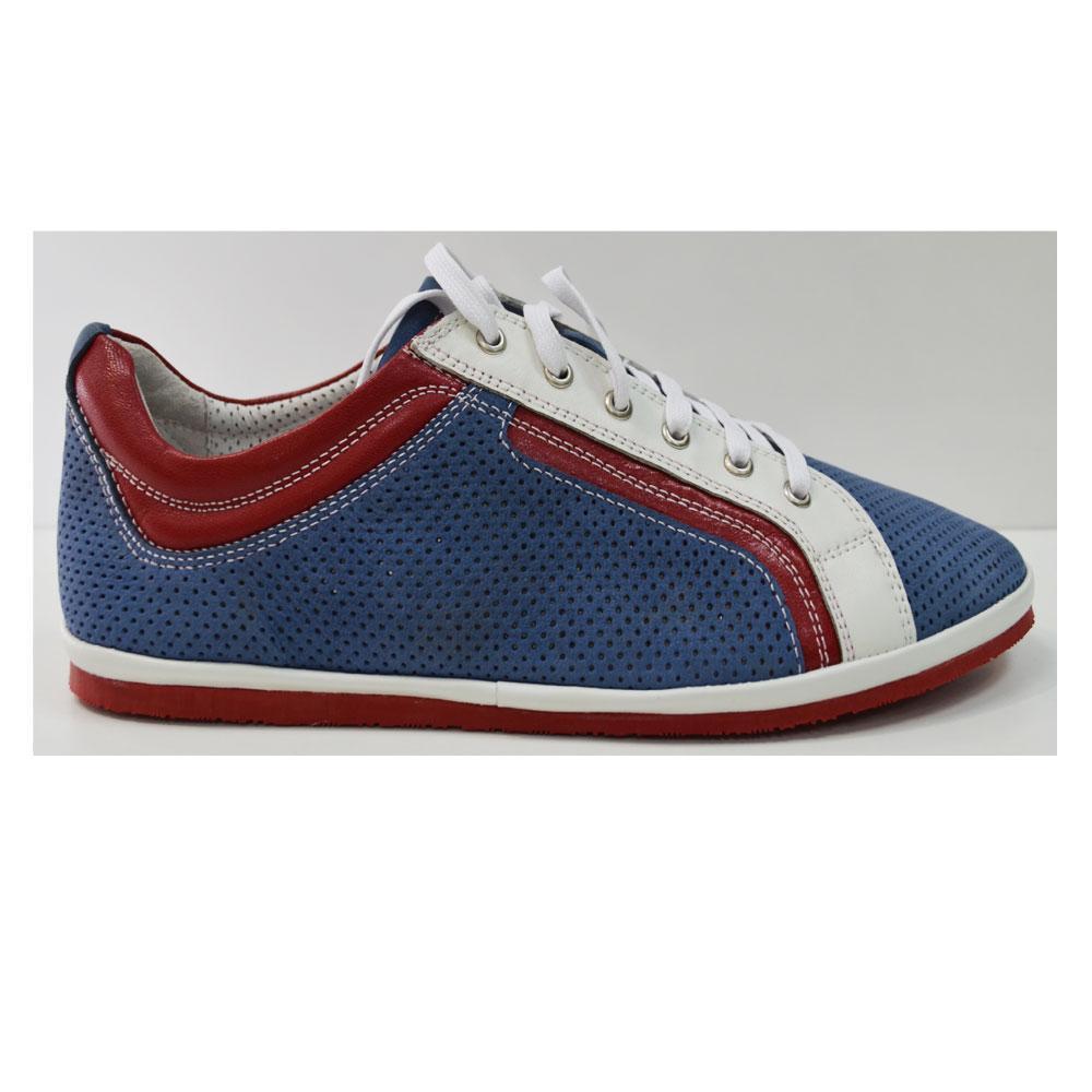 Летние мужские туфли повседневные  из натуральной замши синие