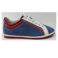 Летние мужские туфли повседневные  из натуральной замши синие, фото 1