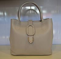 Женская светло-бежевая сумка через плечо из эко кожи