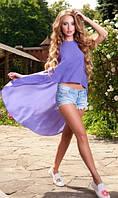 Пляжная туника со шлейфом фиолетовая
