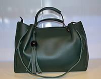 Женская  сумка через плечо из мягкой эко кожи зеленого цвета
