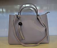 Женская  сумка шоппер  из мягкой эко кожи серо-сиреневая