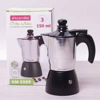 Кофеварка гейзерная индукционная 150 мл (3 чашки) из алюминия с пенообразователем Kamille 2509