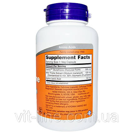 Now Foods, Глутатион, 500 мг, 60 вегетарианских капсул, фото 2