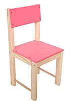 Детский стул со спинкой из натурального дерева (сосна) 24 см Розовый
