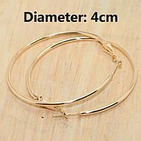Серьги кольца ф 4 см ювелирная бижутерия позолота 1569-а