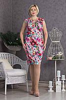 Летнее платье цветочный рисунок коттон р.50-54 V294-02