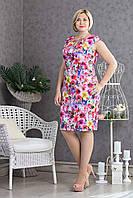 Летнее платье цветочный рисунок коттон р.50-54 V294-01