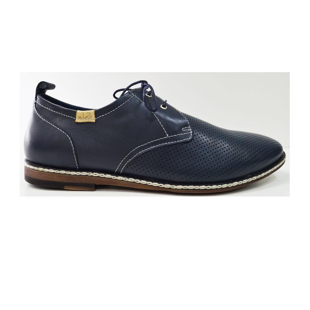 Летние мужские туфли повседневные  из натуральной кожи синие