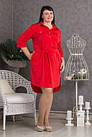 Женское платье-рубашка с пояском р.50-58 V279-04
