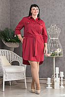 Женское платье-рубашка с пояском р.50-58 V279-05