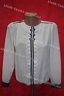 Блуза с ажурной вставкой школьная на девочку