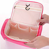 Містка жіноча чоловіча сумочка, органайзер, несесер у відпустку, дорогу, малинова, фото 5