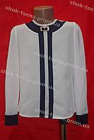 Блуза нарядная  без воротничка школьная на девочку