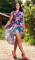 Пляжная туника со шлейфом цветастая