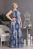 Длинное платье в пол с пояском р.48-54 V297-01