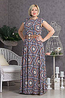 Длинное платье в пол с пояском р.48-54 V297-02