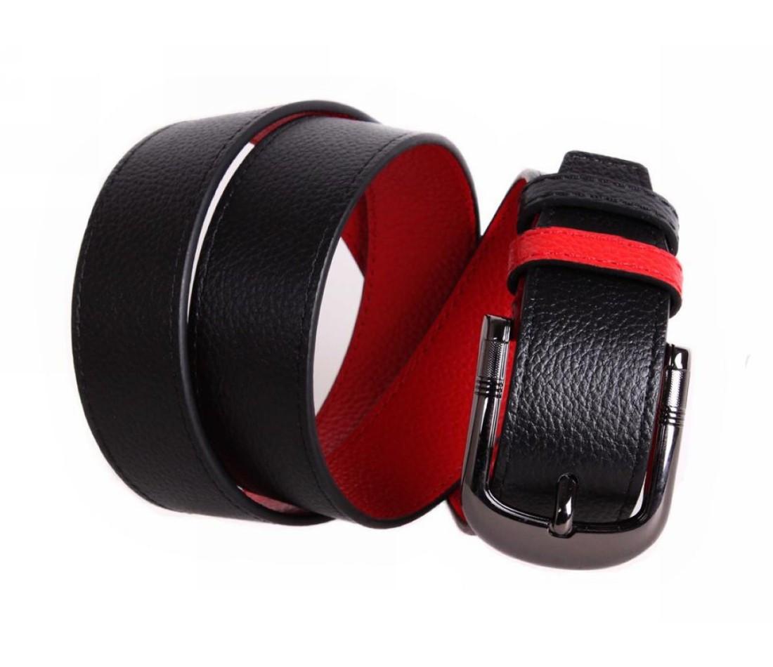 Мужской кожаный ремень черный/красный NAVI 5148