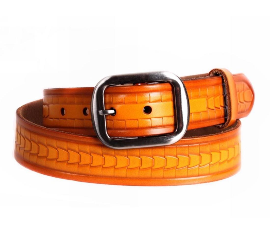 Мужской кожаный ремень оранжевый NAVI 5330