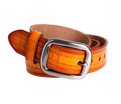 Мужской кожаный ремень оранжевый NAVI 5330, фото 2