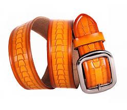 Мужской кожаный ремень оранжевый NAVI 5330, фото 3