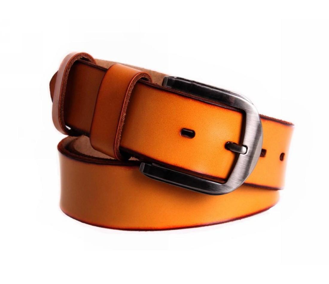 Мужской кожаный ремень оранжевый NAVI 7405