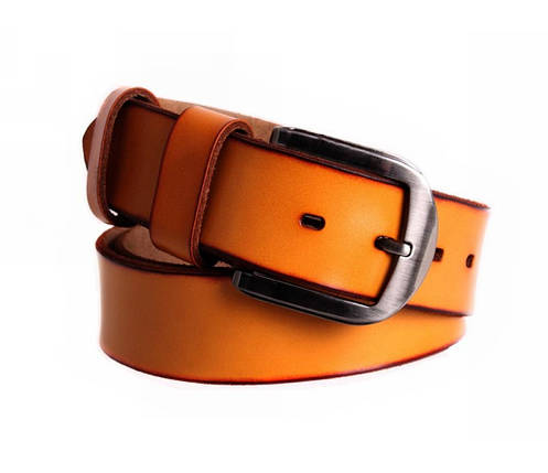 Мужской кожаный ремень оранжевый NAVI 7405, фото 2