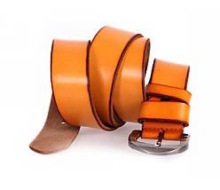 Мужской кожаный ремень оранжевый NAVI 7405, фото 3