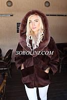 Новинка 2017! Полушубок женский из меха южно-американского бобра+норка скандинавка, размеры в наличии
