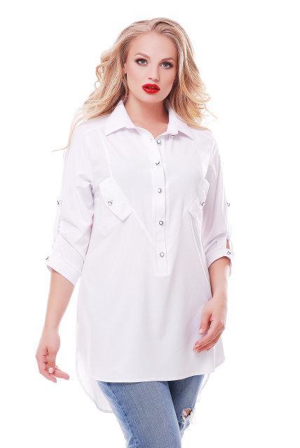 Блуза-рубашка удлиненная батал с 48 по 58 размер 6 цветов