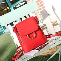 Женский стильный мини-рюкзак красный