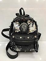 Женский рюкзак из кожзаменителя в пайетках, фото 1