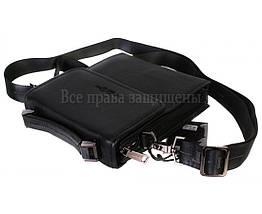 Чоловіча чорна шкіряна сумка (Формат: більше А5) HT-403-4, фото 2