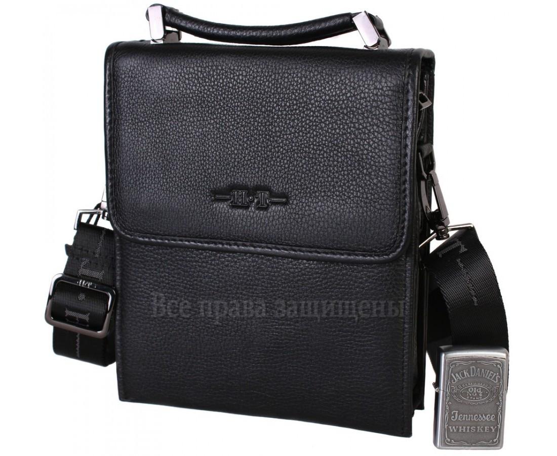 Мужская кожаная сумка через плечо черная (Формат: больше А5) HT-403-4A