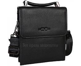 Мужская кожаная сумка через плечо черная (Формат: больше А5) HT-403-4A, фото 3