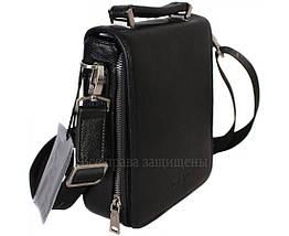 Мужская кожаная сумка через плечо черная (Формат: больше А5) HT-1021-3, фото 2