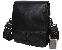 Мужская кожаная сумка черная (Формат: больше А5) HT-1562-3