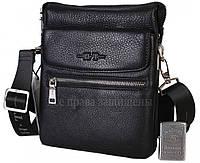 Мужская кожаная сумка черная (Формат: больше А5) HT-49645-3
