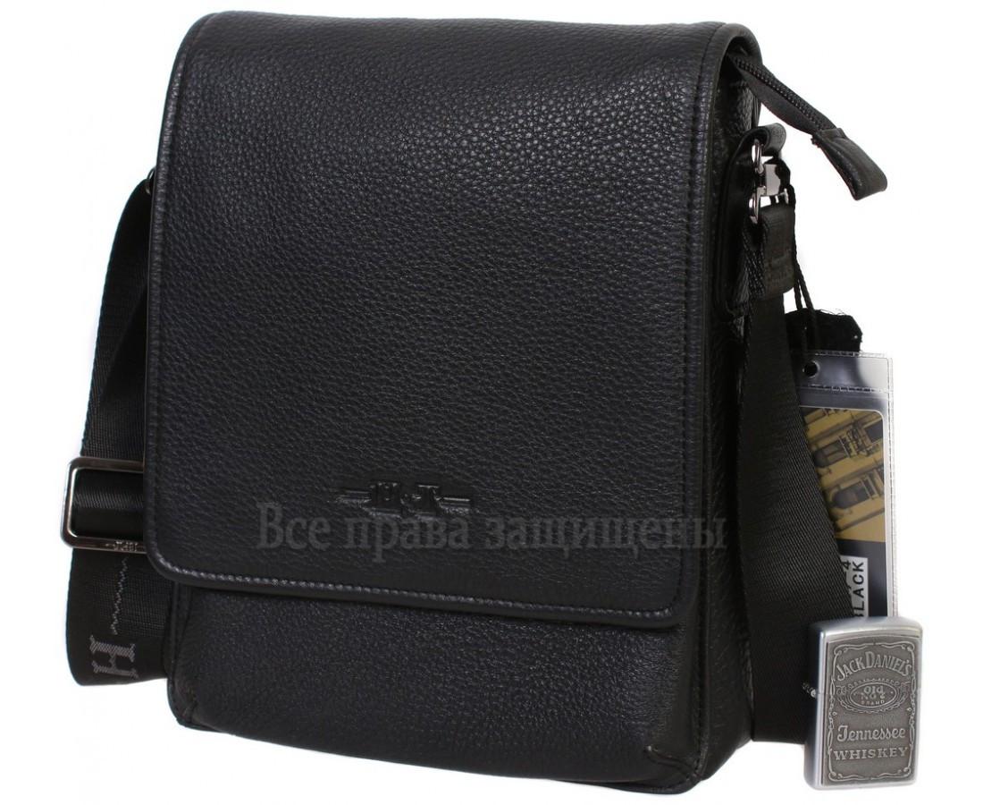 Мужская кожаная сумка через плечо черная (Формат: больше А5) HT-1569-4